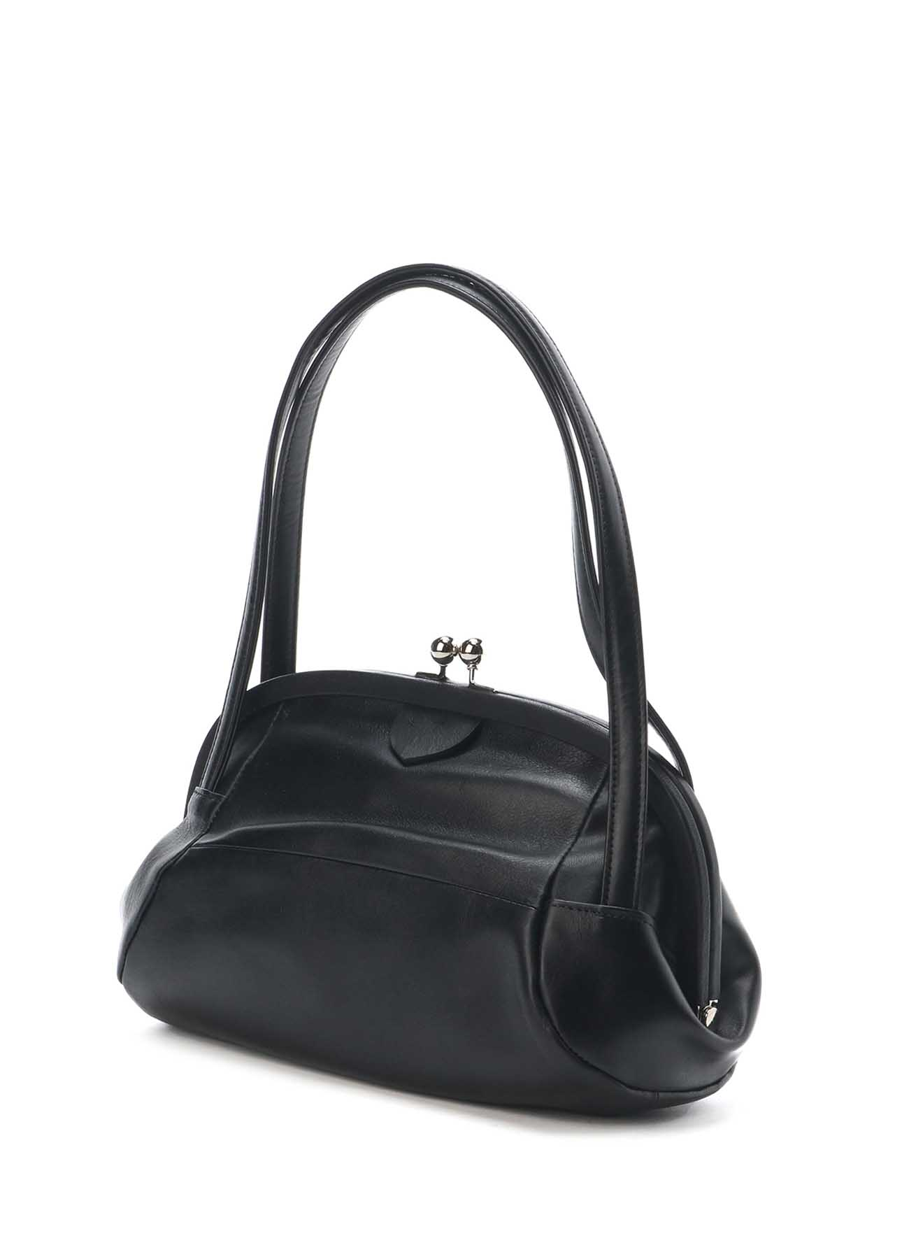 SEMI GLOSS LEATHER RUGBY DESIGNED CLASP BAG