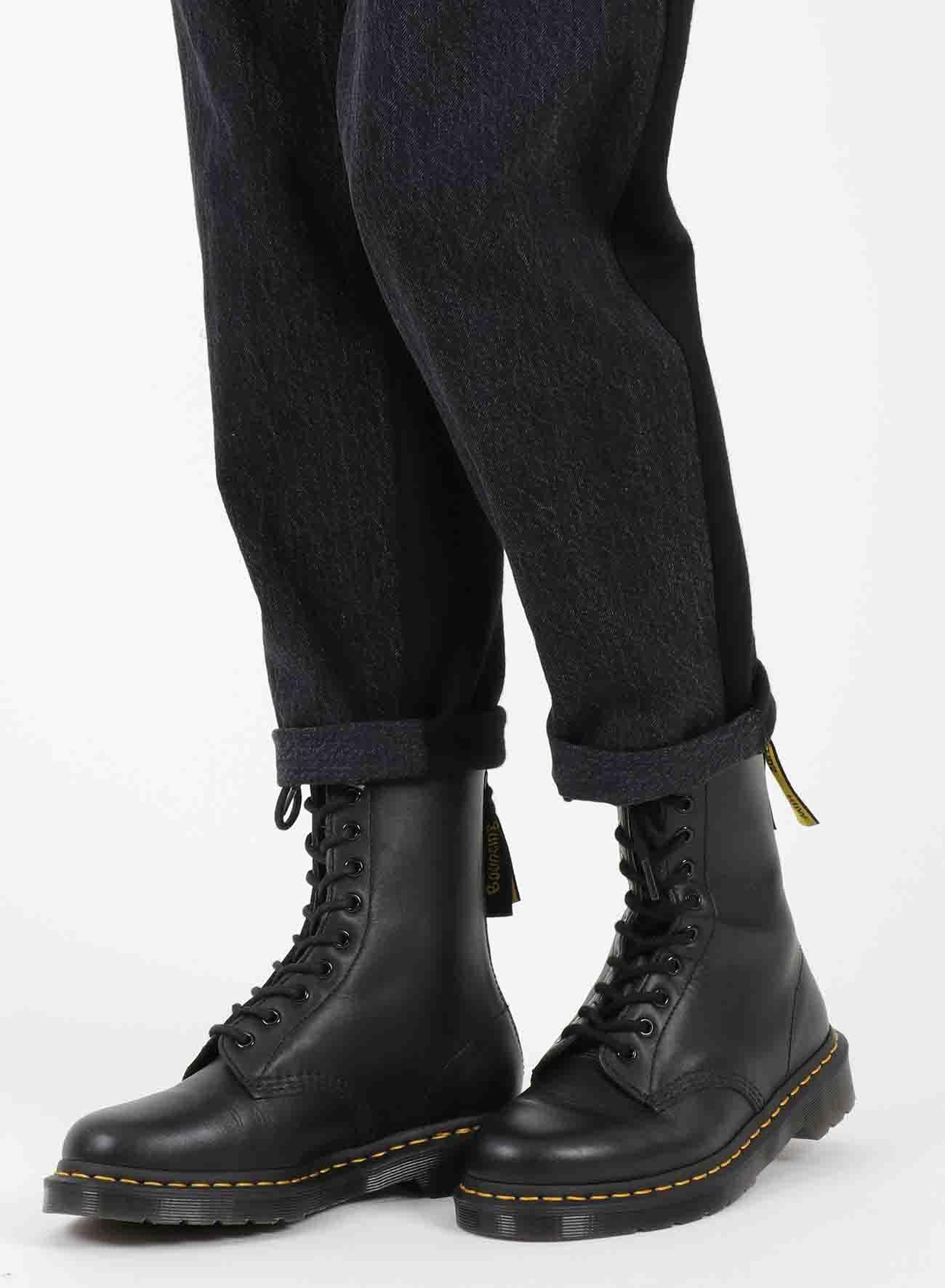 COTTON WOOL WAIST STRING SLIM PANTS
