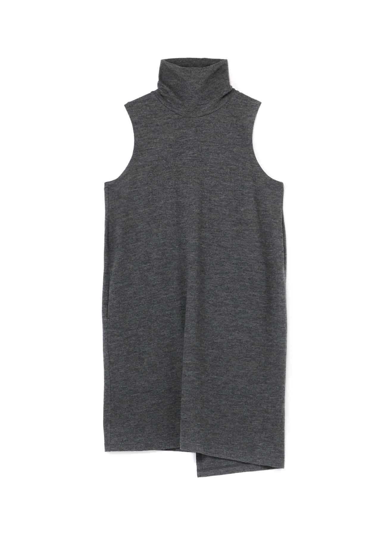 SOFT SHRINKAGE PLAIN STICH HIGH NECK NO SLEEVE DRESS