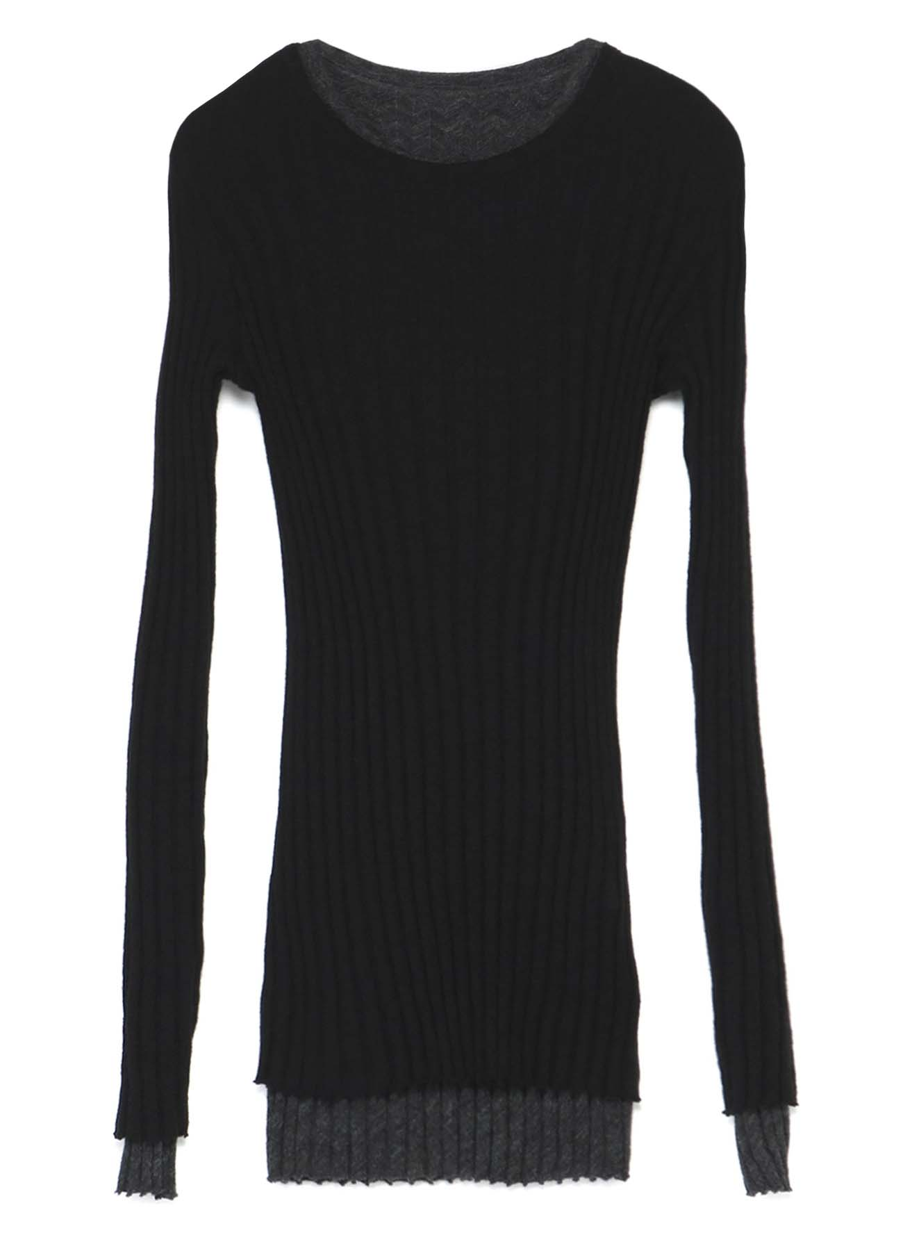 GAUZE WIDE MIX UP ROUND NECK LAYER T