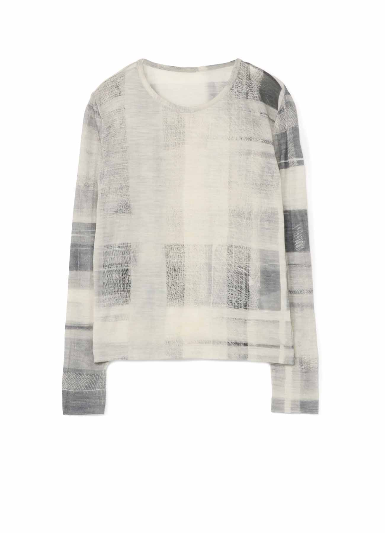 HAND PAINT CHECK PRINT ROUND NECK LONG SLEEVE T
