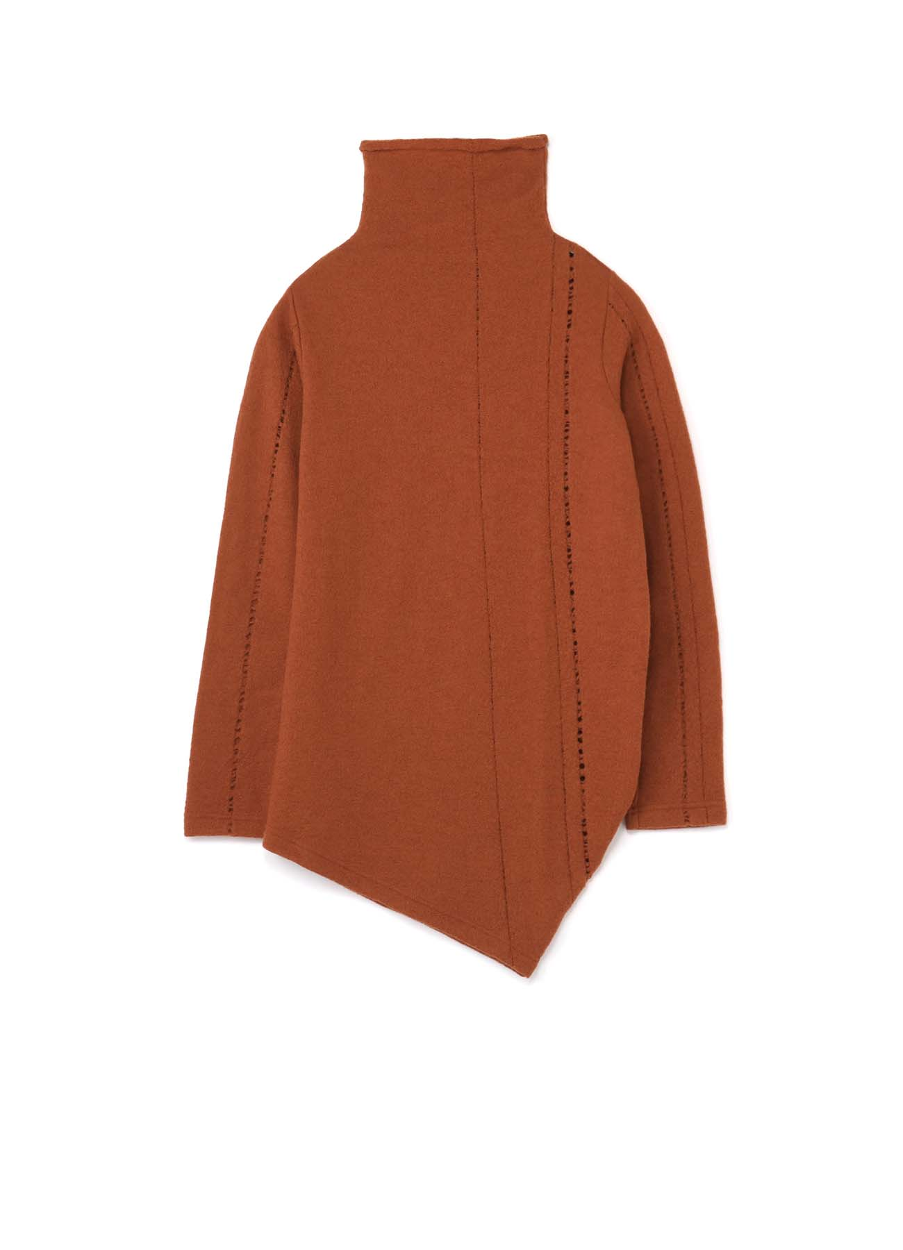 PARTIAL DROP STITCH SHRINKAGE RIGHT SIDE DRAPE HIGH NECK