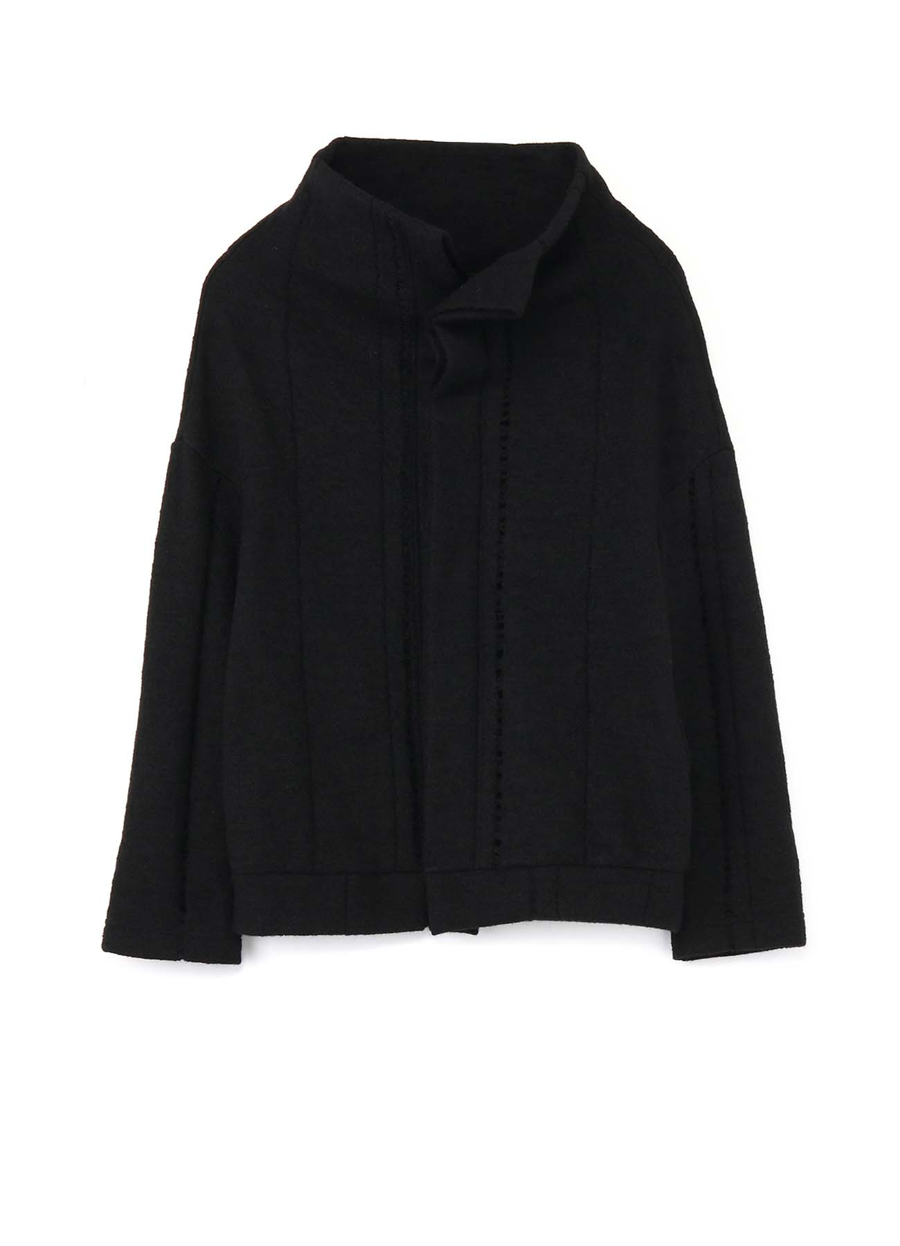 PARTIAL DROP STITCH SHRINKAGE OFF NECK FLY CARDIGAN