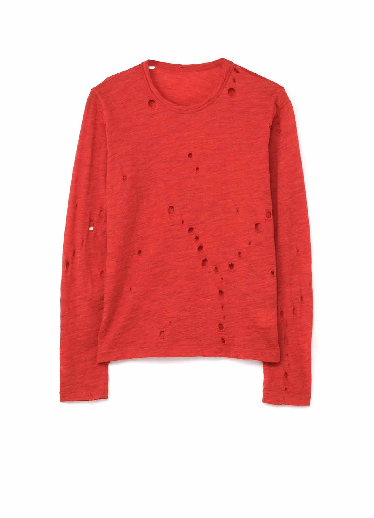 PERFORATED Y PRINT PLAIN STICH ROUND NECK LONG SLEEVE