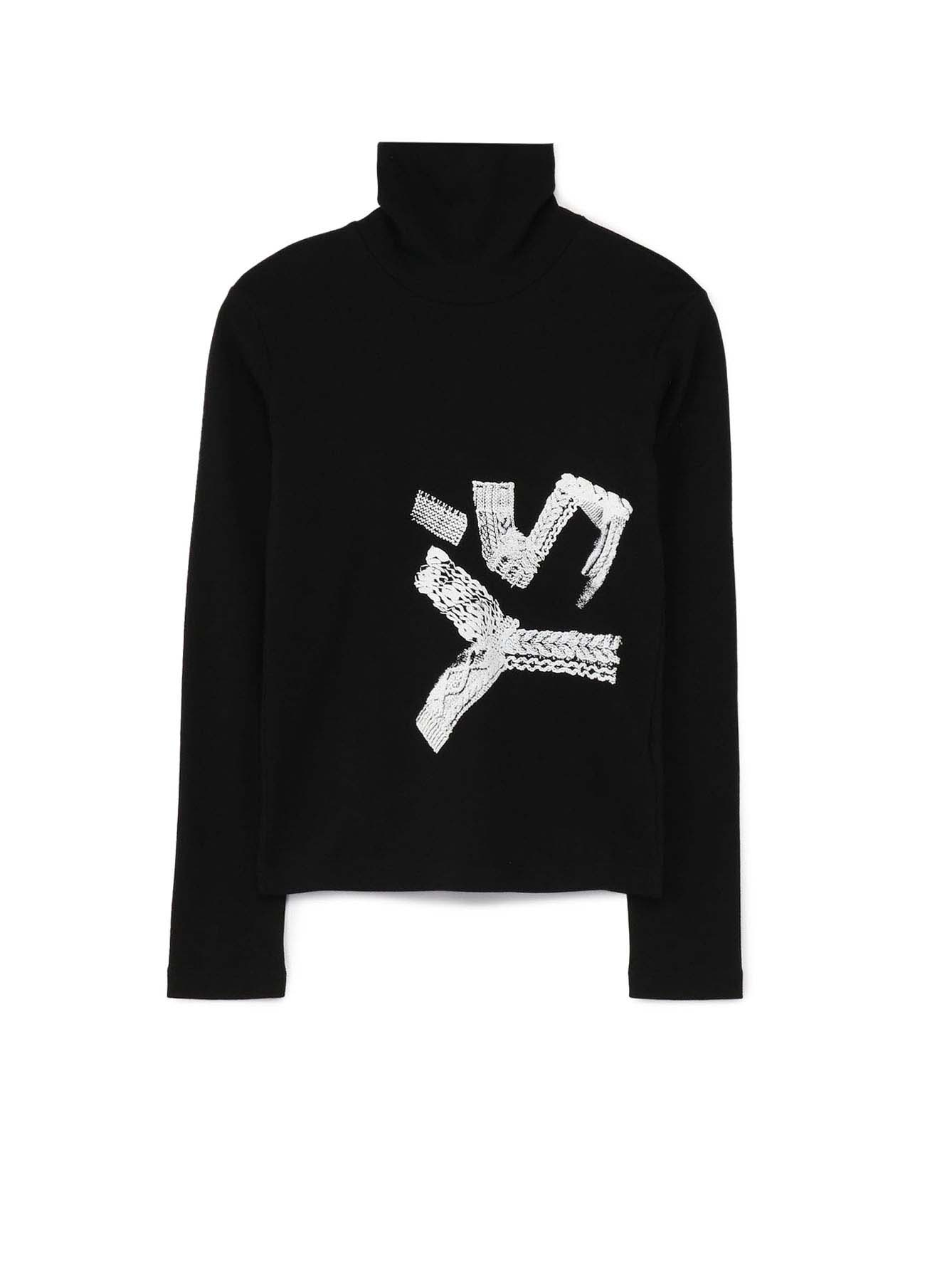 SMOOTH KNIT Y's FOAM PRINT HIGH NECK LONG SLEEVE T