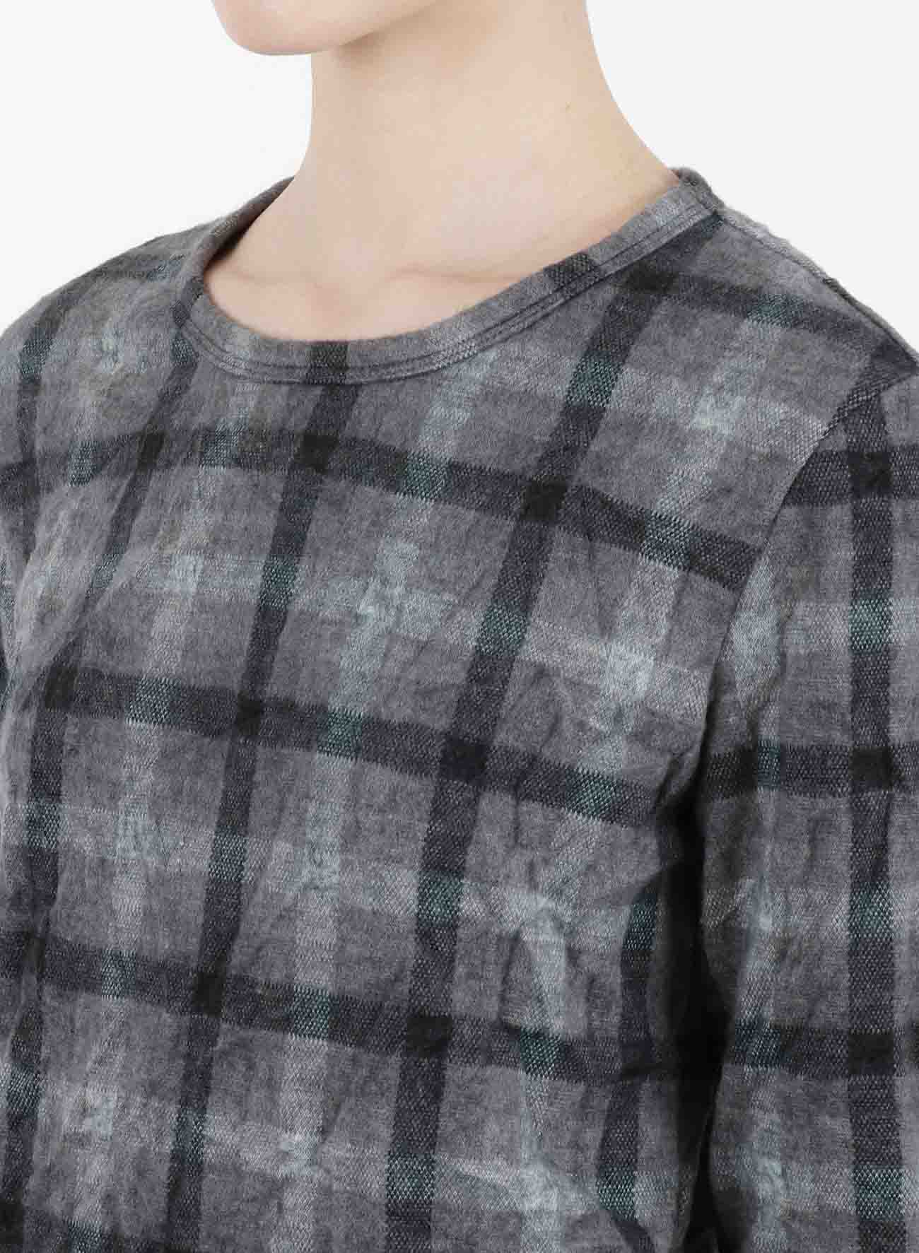 SHAGGY CHECK JQ WRINKLE ROUND NECK LONG SLEEVE T