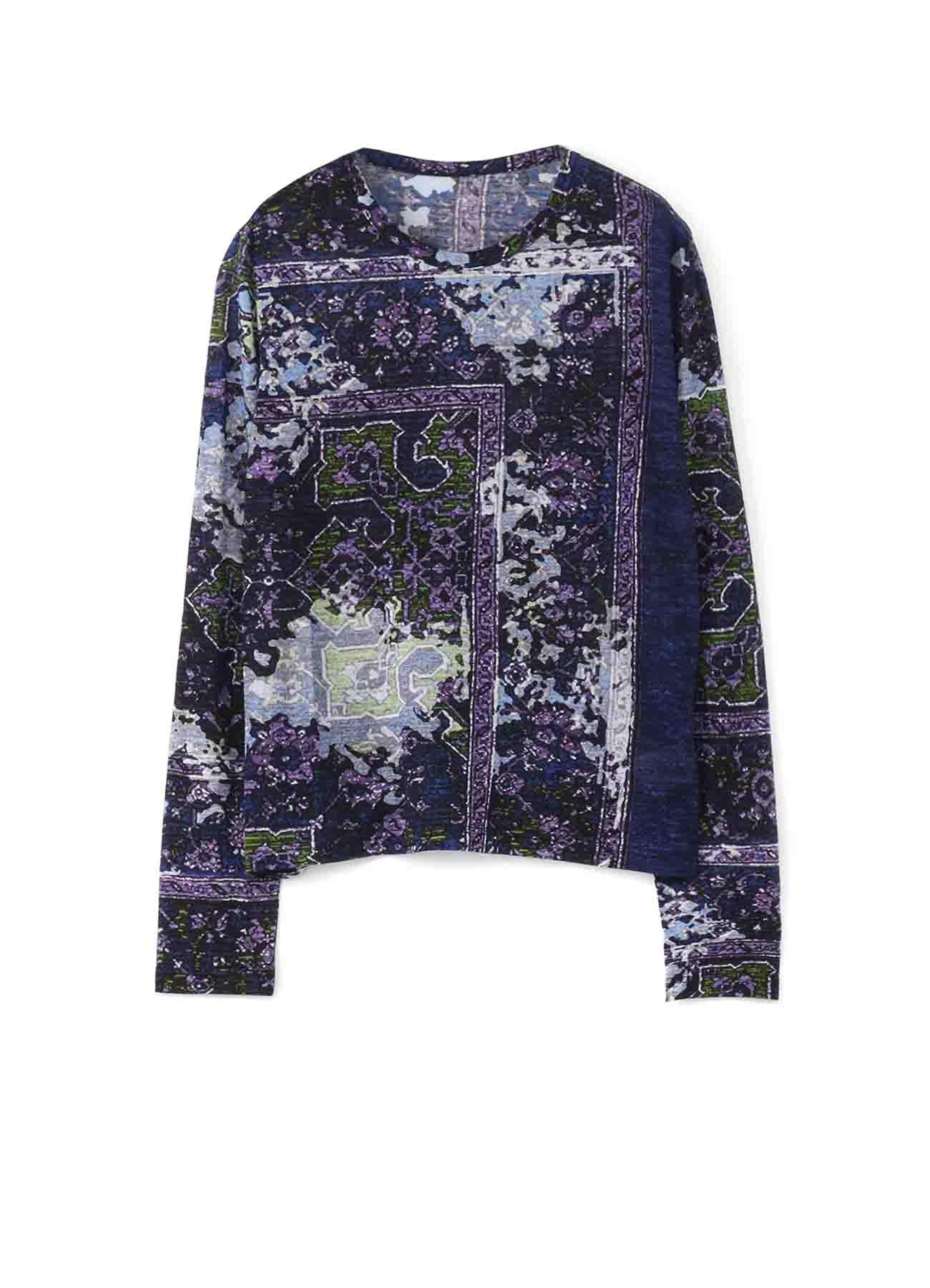 デジタル絨毯プリント天竺 丸首長袖Tシャツ